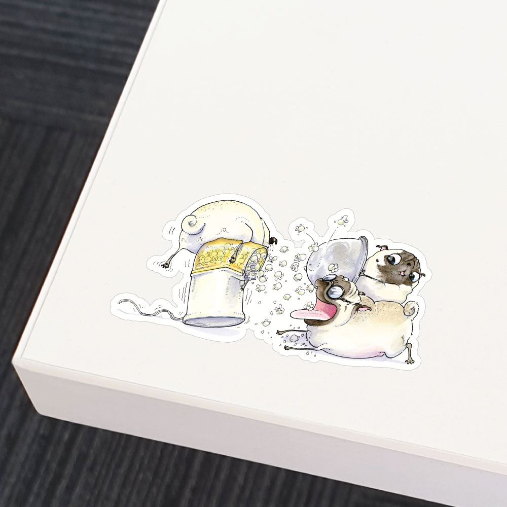 Three Popcorn Pugs Sticker Decal