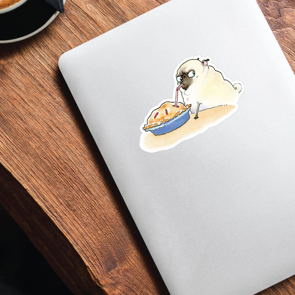 Smart Pug Eating Pie With Straw White Sticker Decal