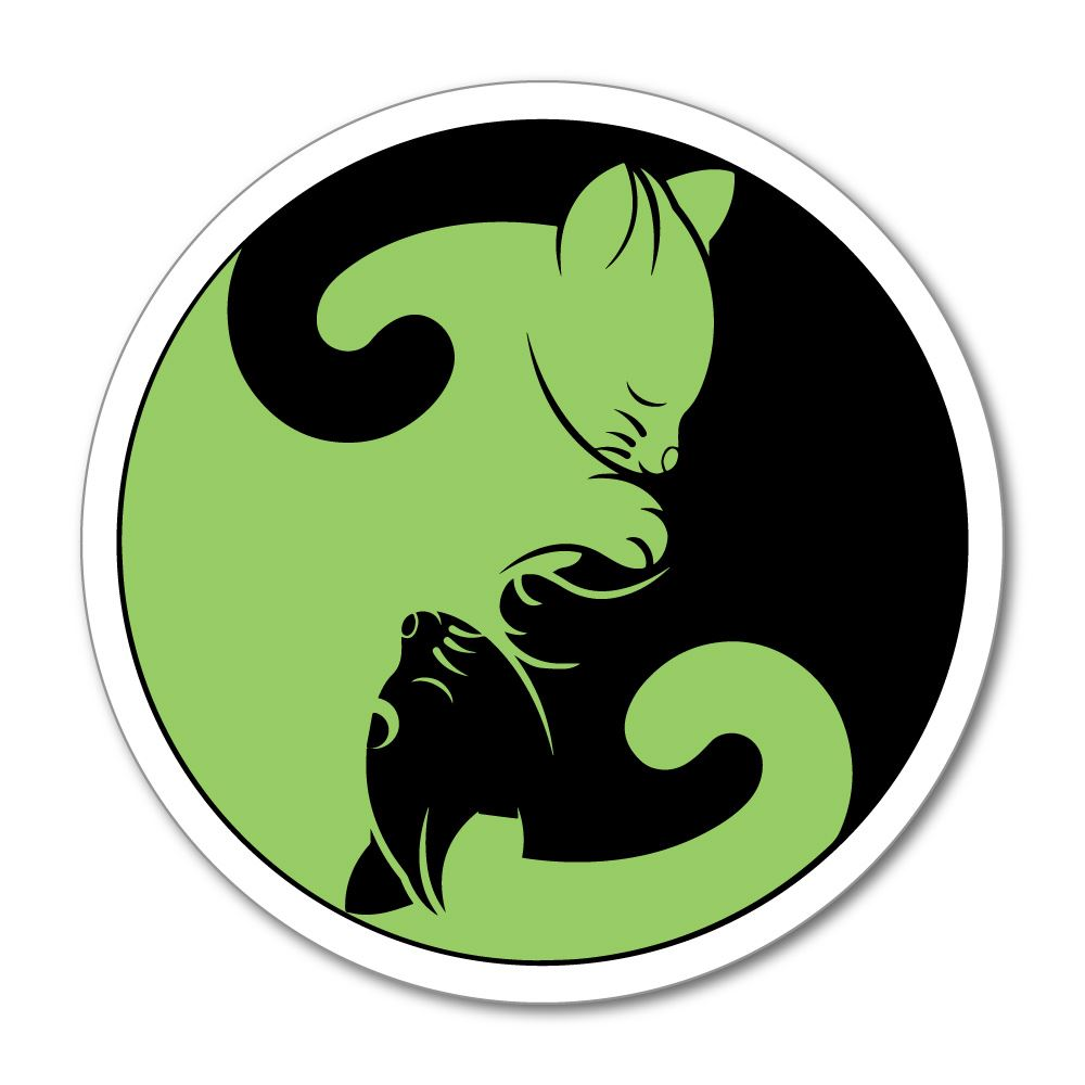 Cat Green Yin Yan Circle Car Sticker Decal