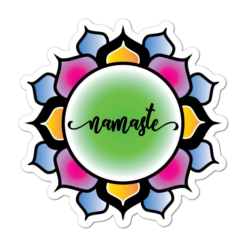 Namaste flower lotus hippie buddhism colourful henna car sticker decal
