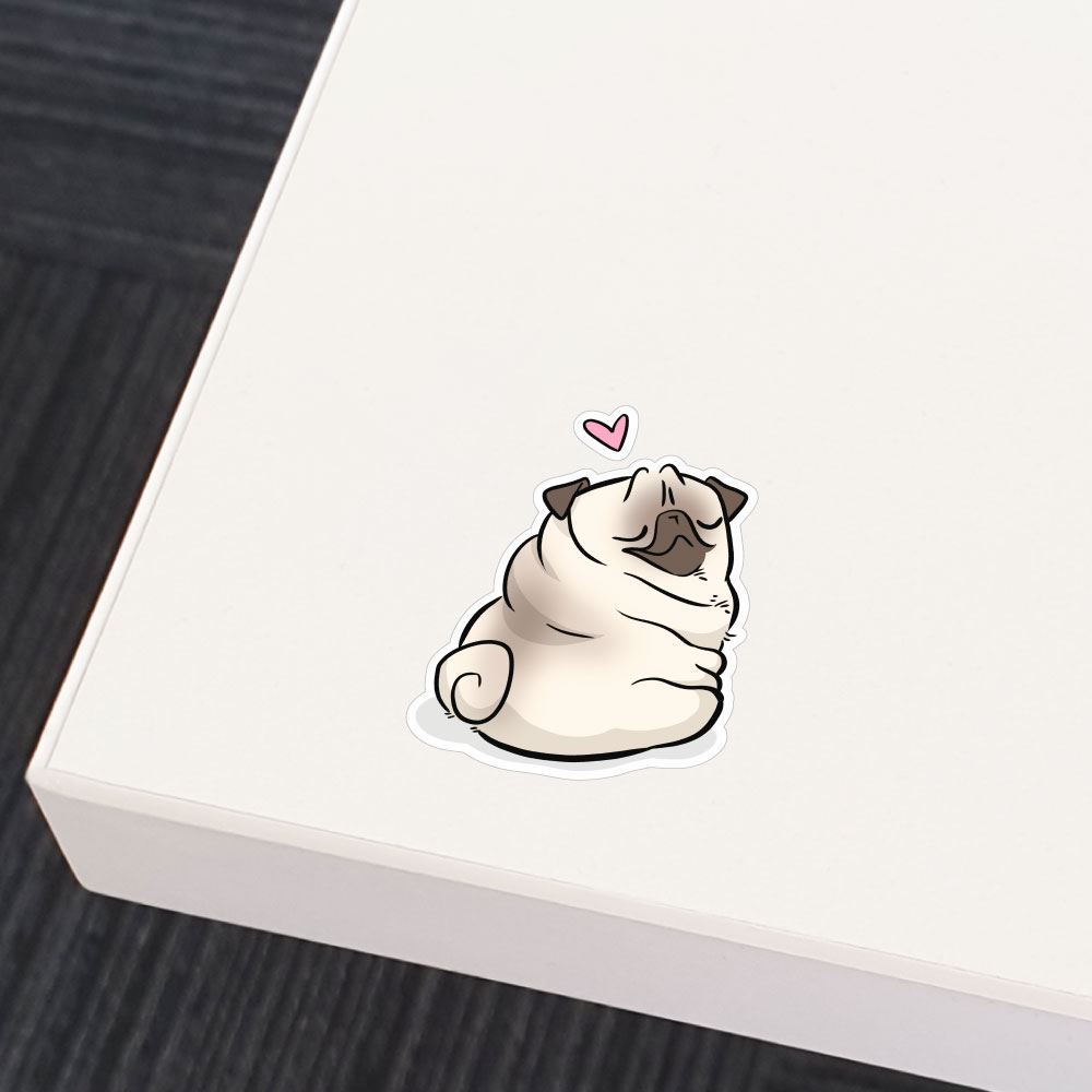 Love Rolls White Pug Sticker Decal