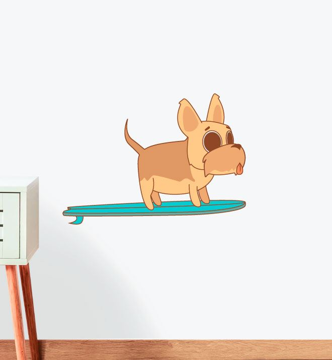Brown Surfing Dog Wall Sticker Decal