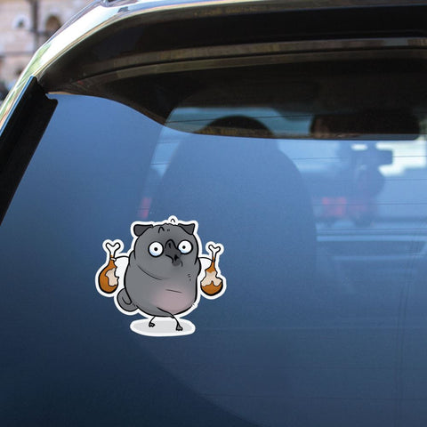 Chicken Thief Grey Pug Sticker Decal