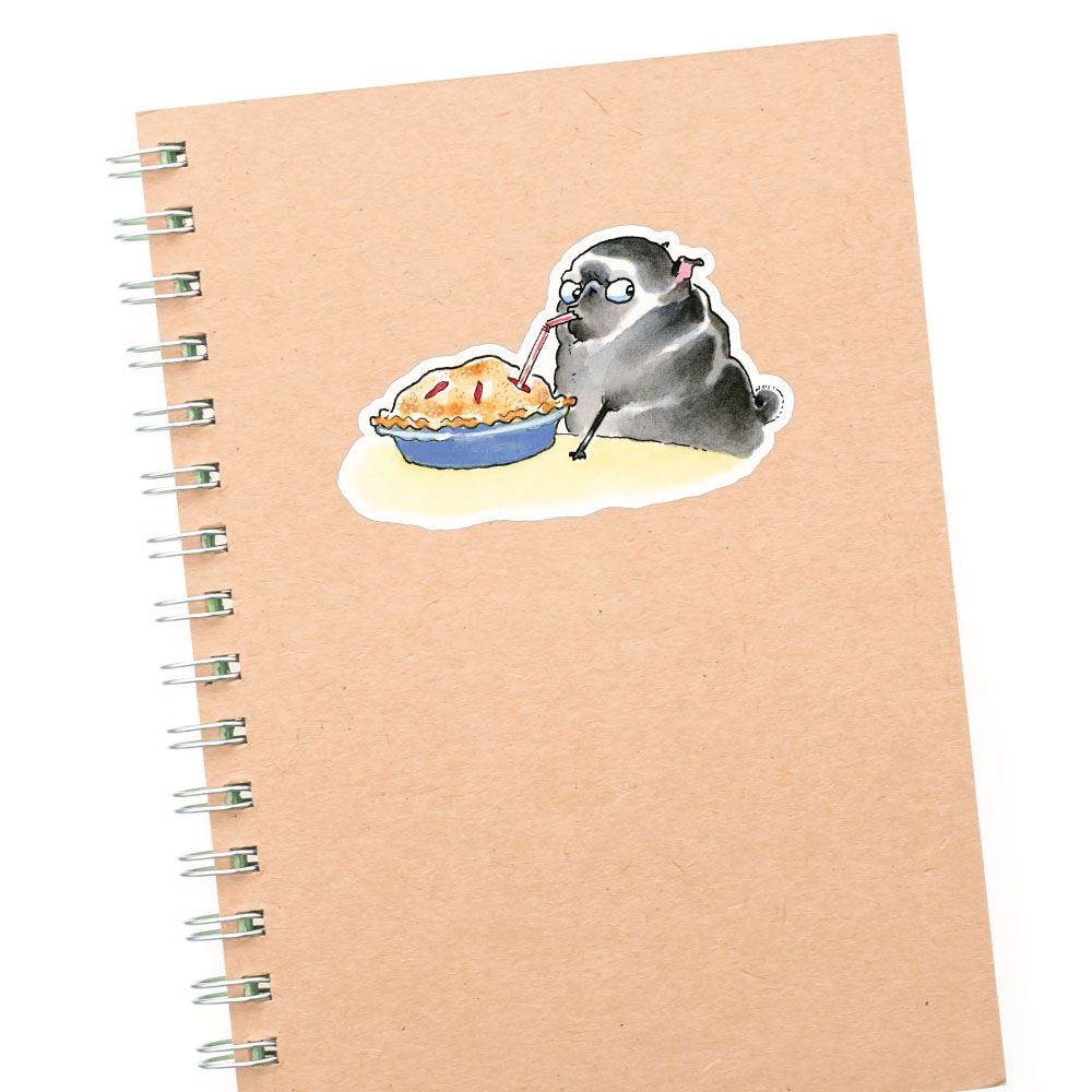 Smart Pug Eating Pie With Straw Black Sticker Decal