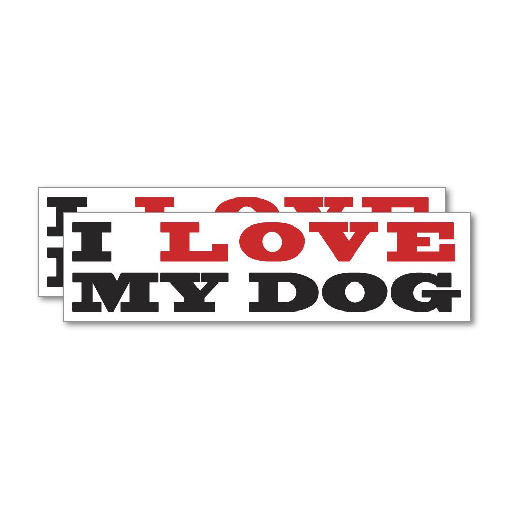2X I Love My Dog Sticker Decal