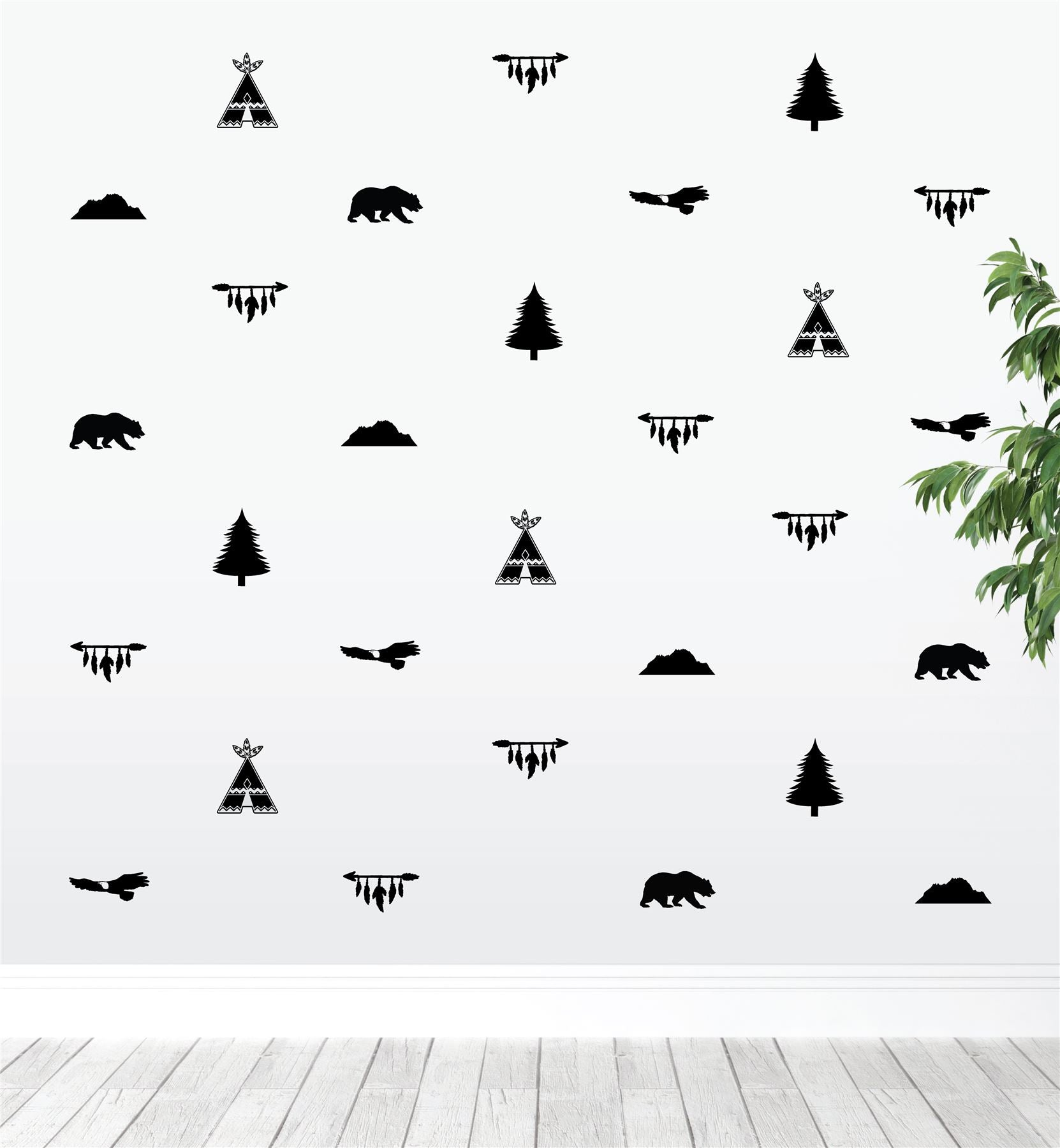 Teepees Eagles Bears Arrows Trees (Collection Of 34) Wall Sticker Decal