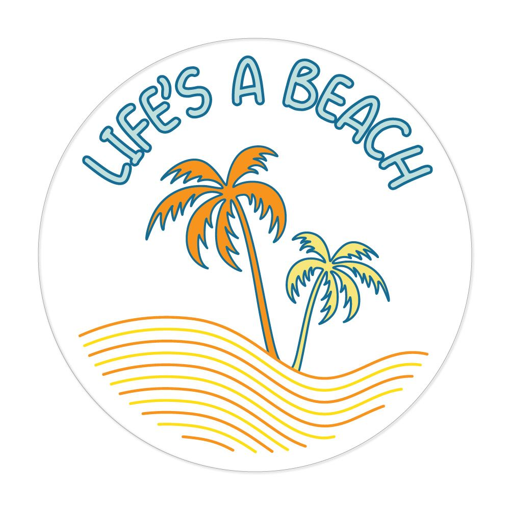 Lifes A Beach Pun Funny Summer Sun Palm Trees Sand Ocean Car Sticker Decal
