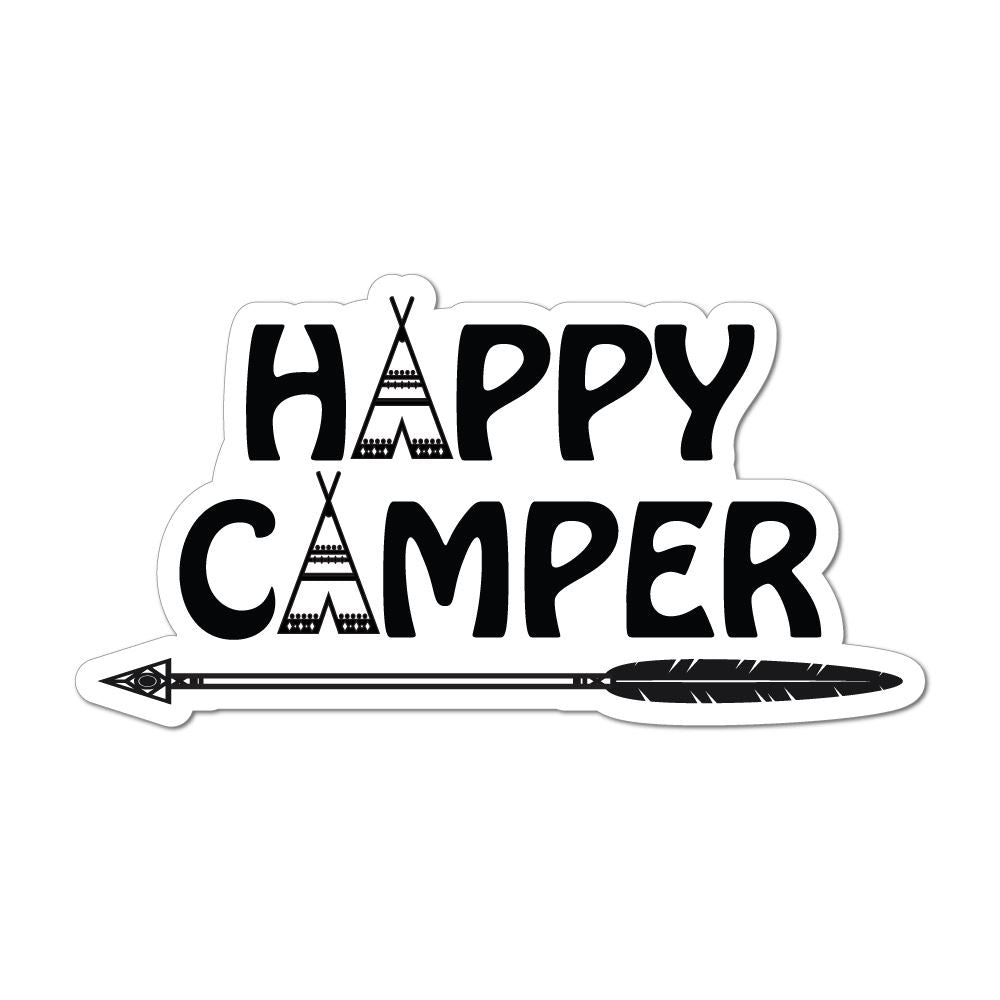 Happy Camper Tent Adventure Outdoors Travel Camping Road Trip Car Sticker Decal