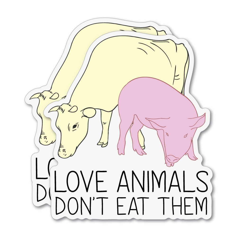 2X Love Animals Do Not Eat Them Sticker Decal