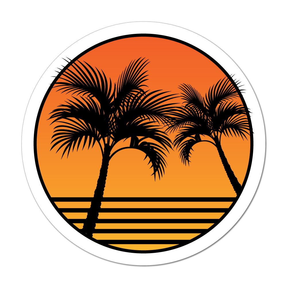 Palm Tree Sunset Beach Sand Summer Holiday Good Vibes Car Sticker Decal