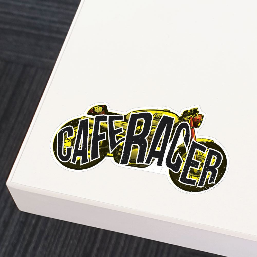 Vintage Cafe Racer Motorbike Sticker Decal