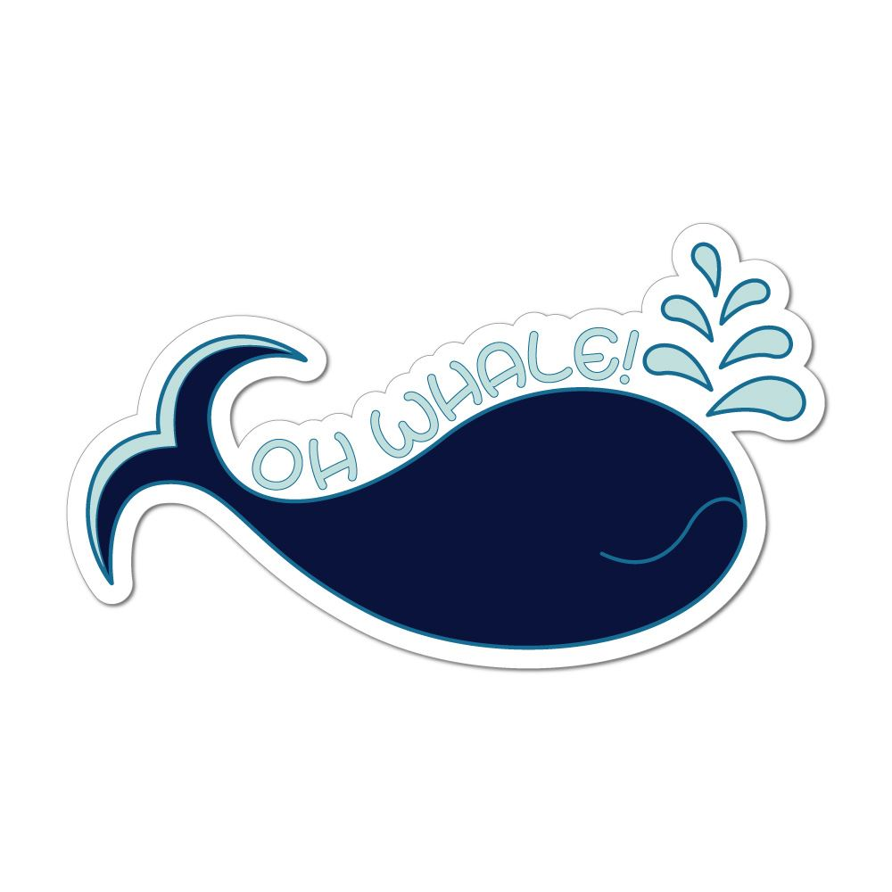 Oh Whale Pun Funny Ocean Sea Animal Cute Trending Car Sticker Decal