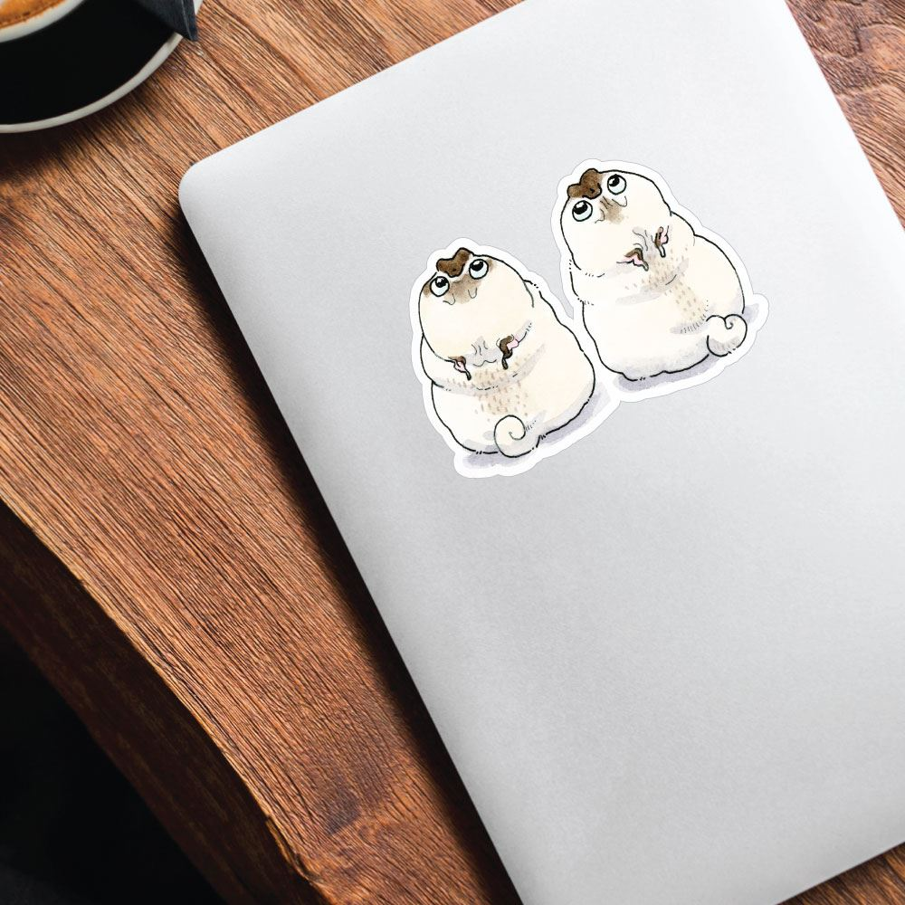 Two Pugs Staring Into The Sky Sticker Decal