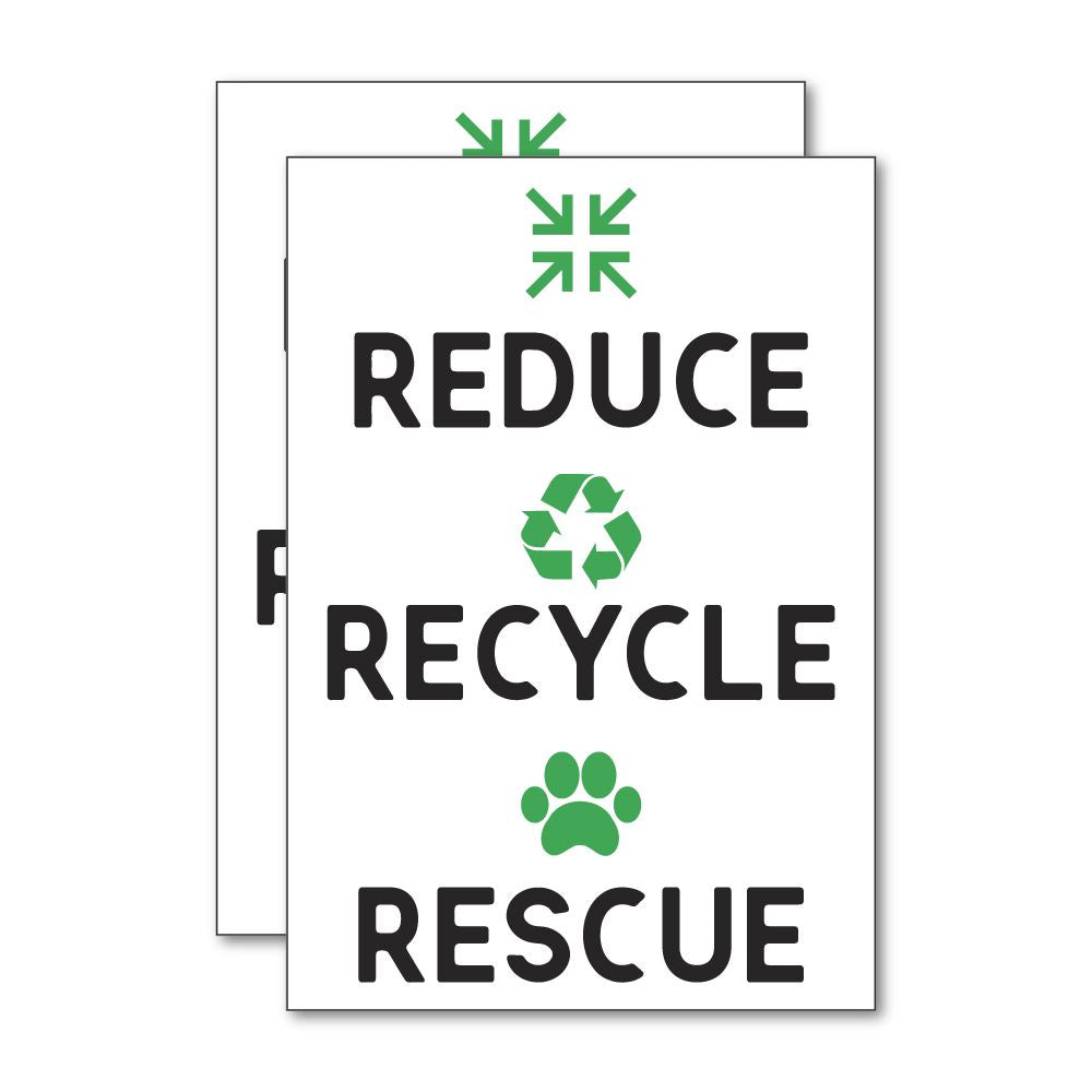 2X Reduce Recycle Rescue Sticker Decal