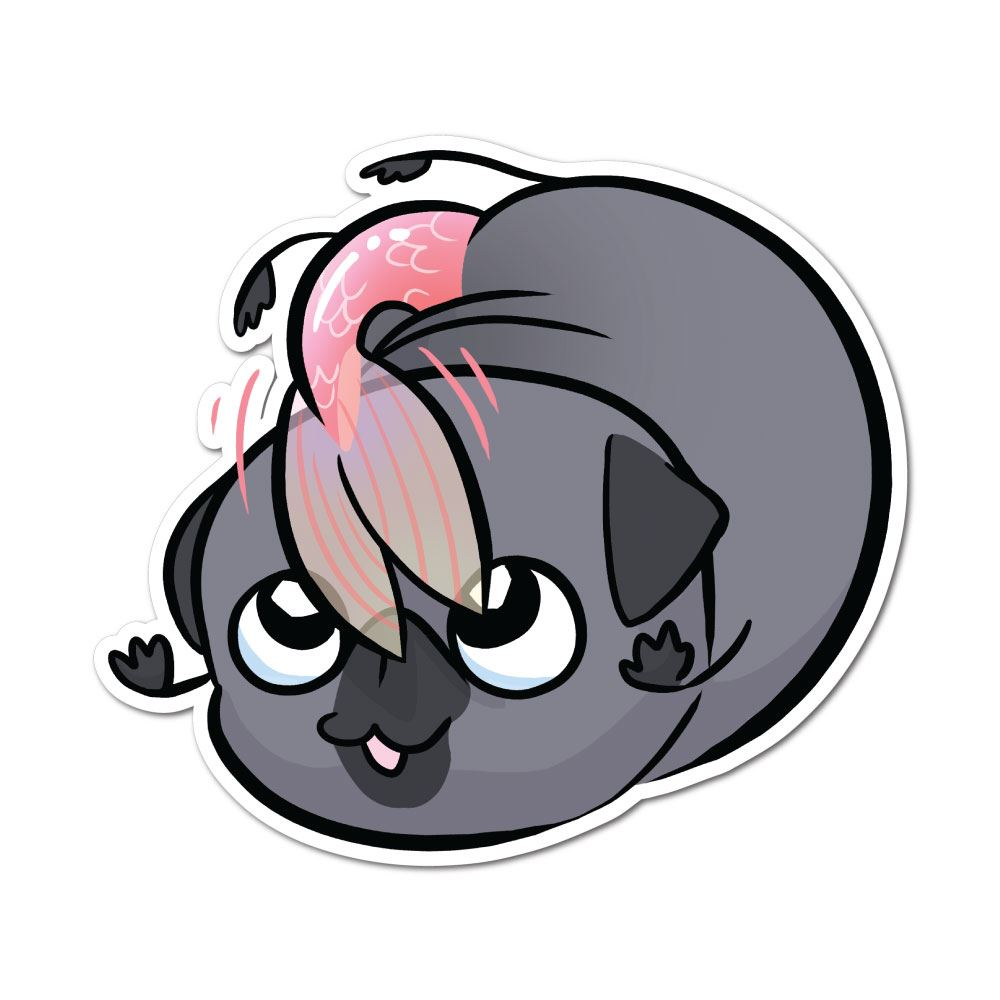 Pug Mermaid Swirly Twirly Black Sticker Decal