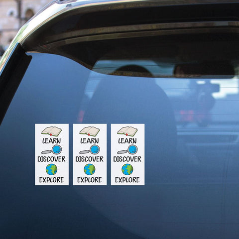 3X Learn Discover Explore Sticker Decal