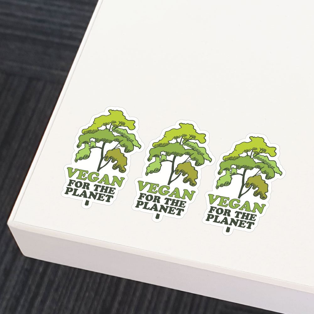3X Vegan For The Planet Tree Sticker Decal