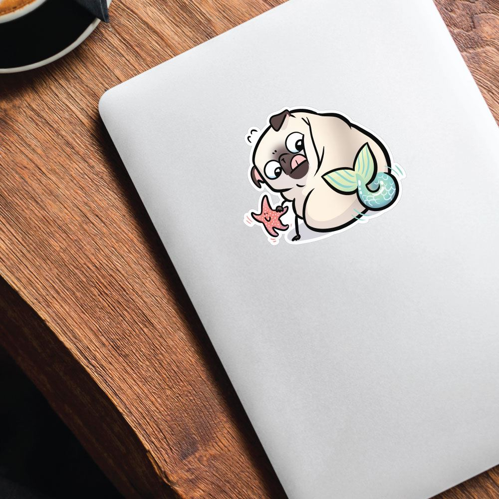 Pug Mermaid With Starfish White Sticker Decal