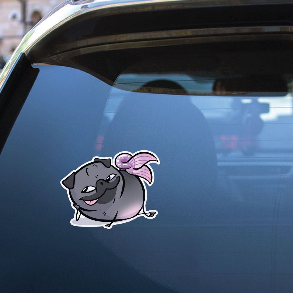 Pug Mermaid Sly Black Sticker Decal