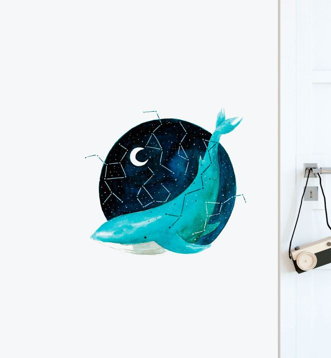 Cosmic Whale Wall Sticker Decal
