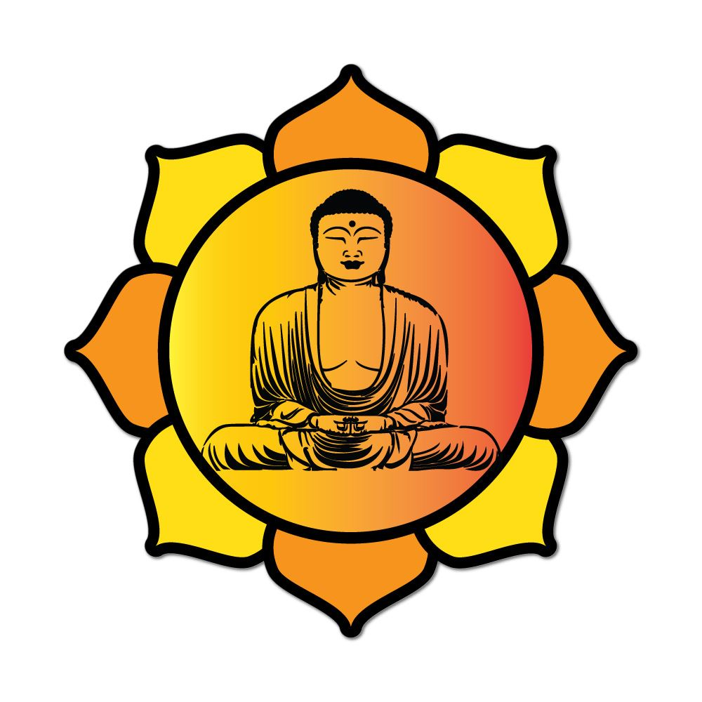 Buddha Meditate Hippy Yoga Love Peace Lotus Flower Sunset Car Sticker Decal