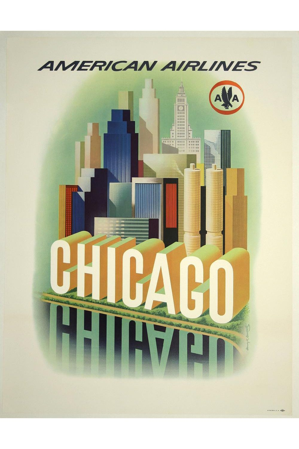 American Airlines Chicago Poster Canvas