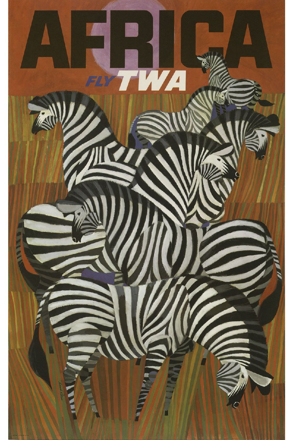 Africa Zebras Fly TWA Poster Canvas