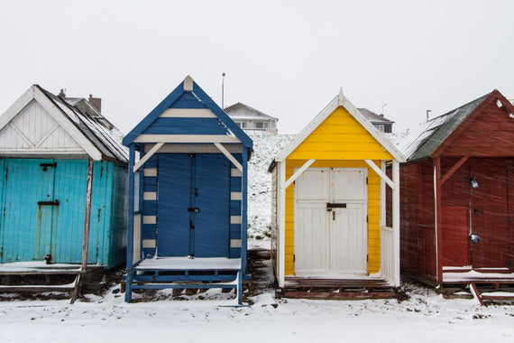 Colourful Huts In The Snow Canvas