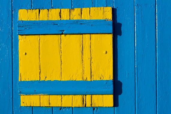 Blue and Yellow Shutter Canvas