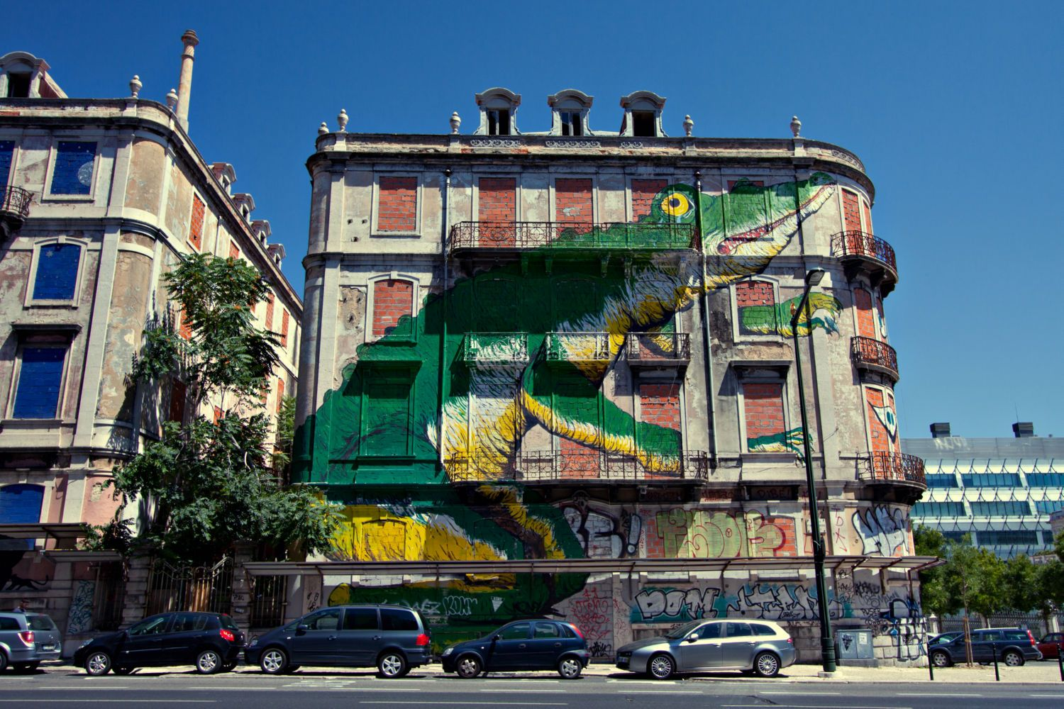 Croc Mural in Lisbon Canvas