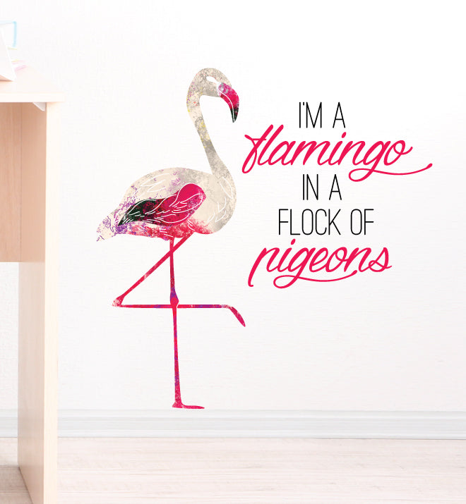 Flamingo in a flock of Pigeons Wall Sticker
