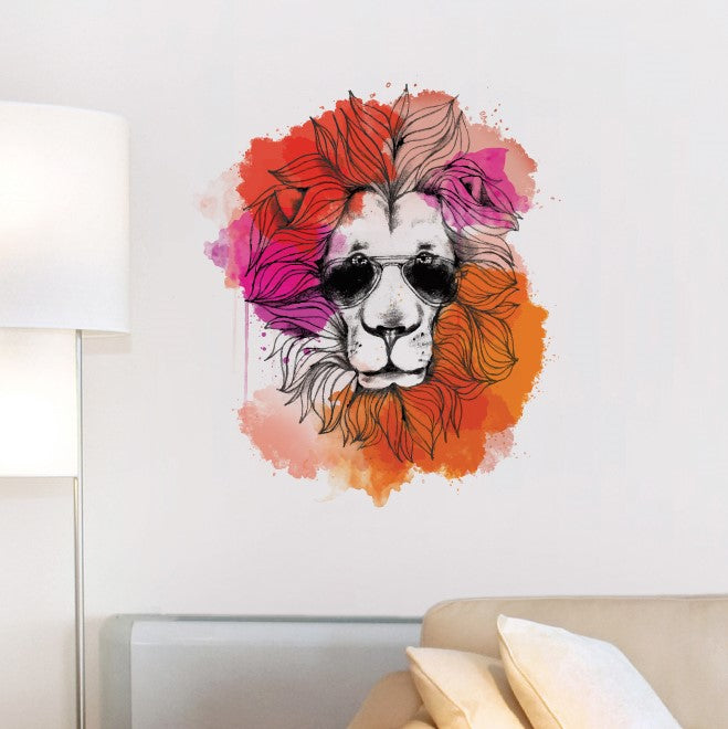 Summer Hipster Lion Wall Sticker