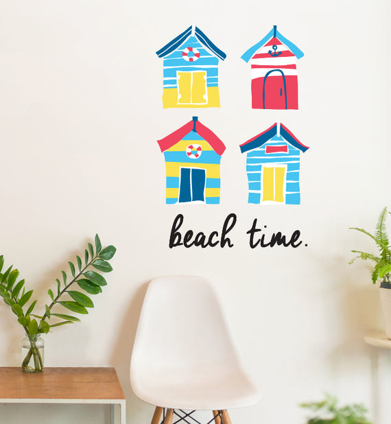 brighton beach huts wall sticker | little sticker boy