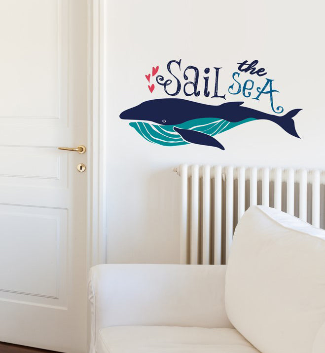 Sail The Sea With Big Whale Wall Sticker