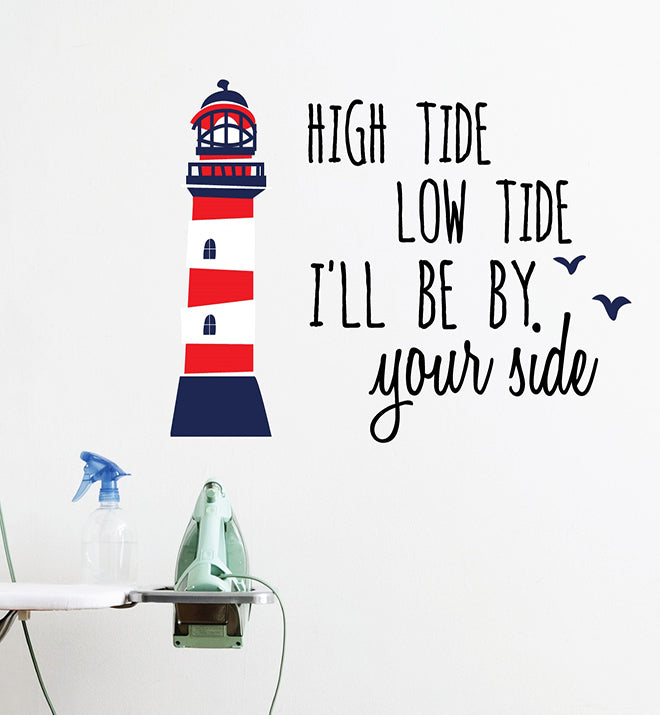 High Tide Low Tide At The Lighthouse Wall Sticker