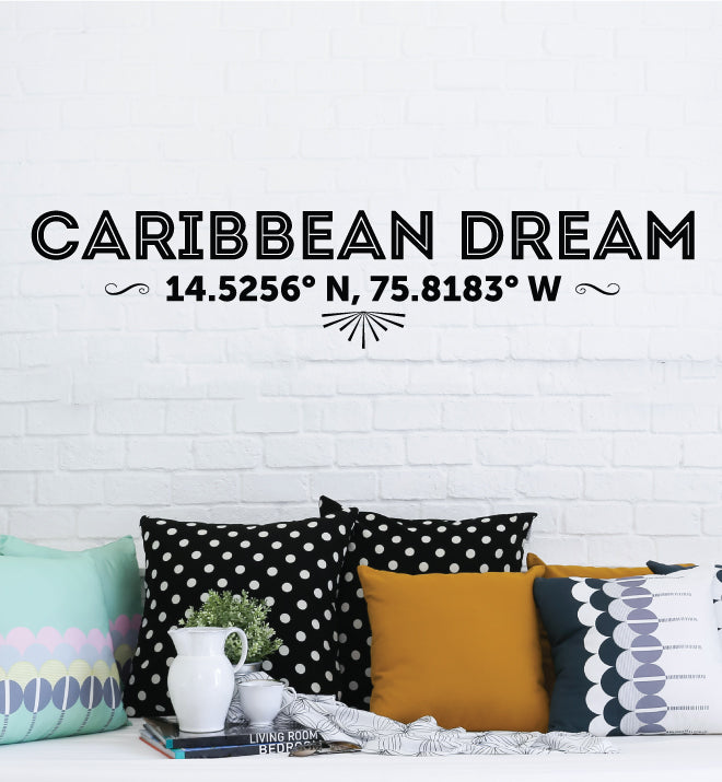 Caribbean Dream Latitude Longitude Wall Sticker