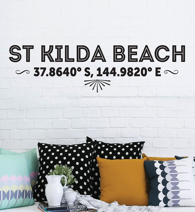 St Kilda Beach Latitude Longitude Wall Sticker