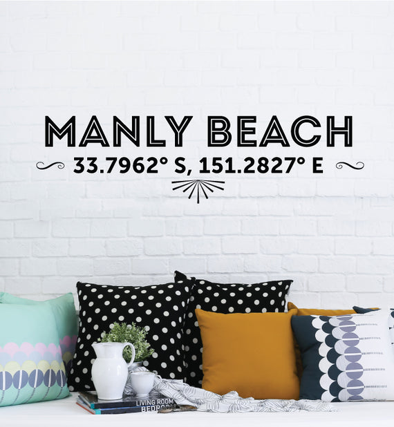 Manly Beach Latitude Longitude Wall Sticker