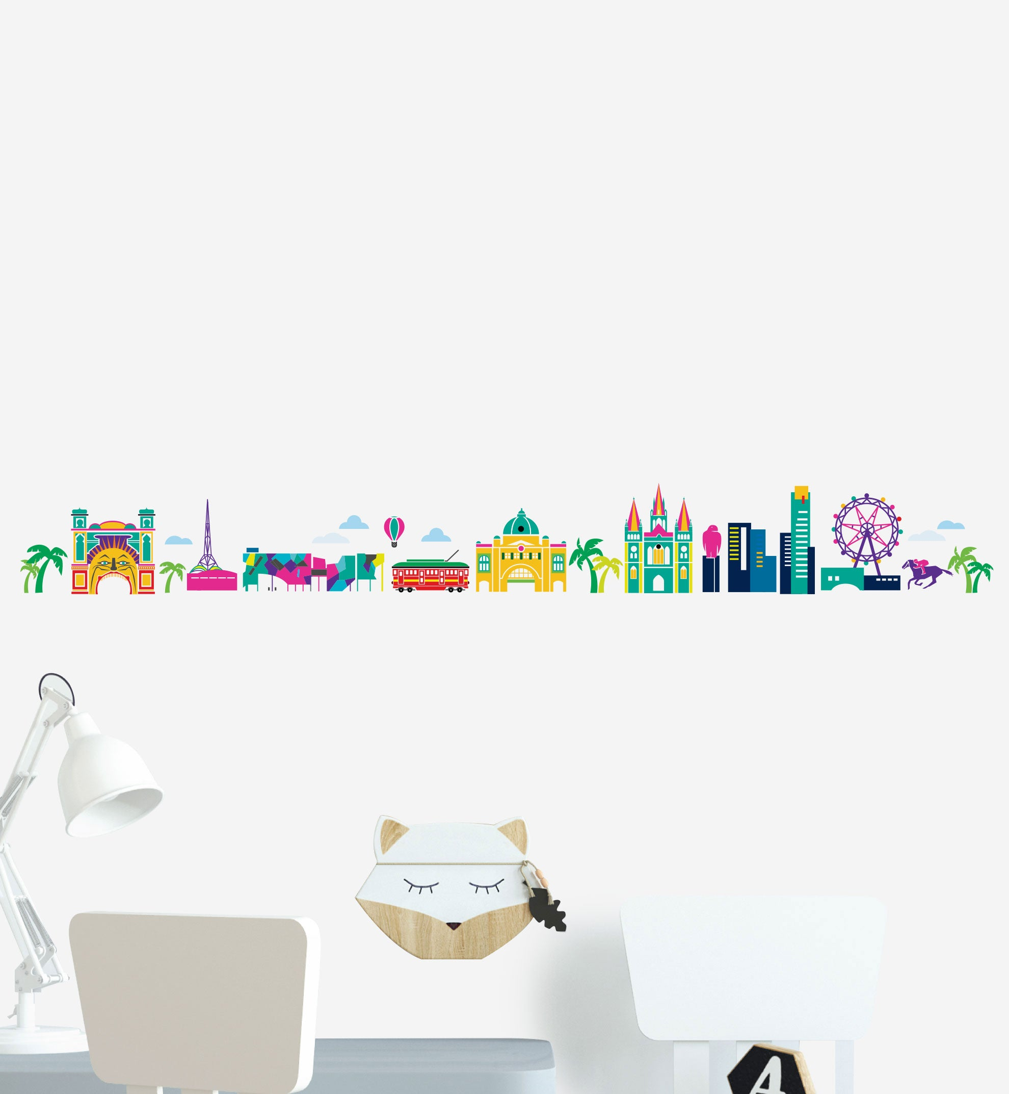 Melbourne Skyline Illustration Wall Sticker