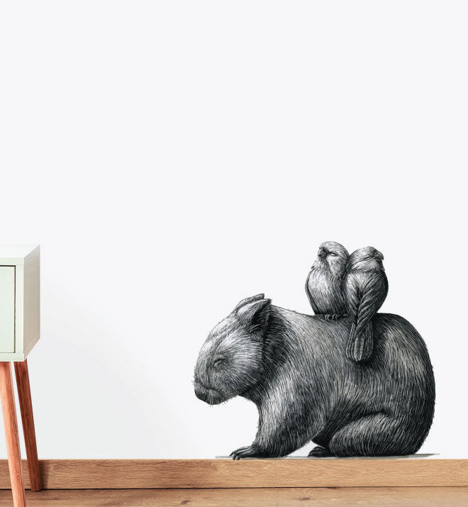 Wombat With 2 Galahs Wall Sticker