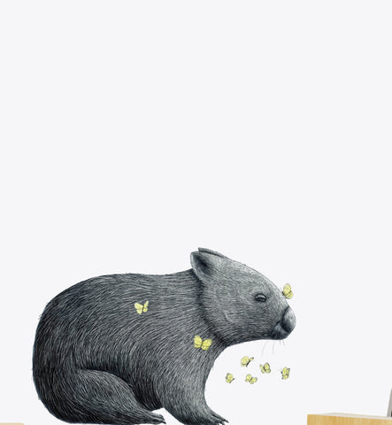 Wombat with Mariposa Wall Sticker