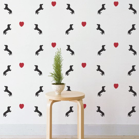 Mini Dachshund Love Pattern Wall Sticker