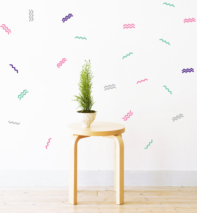 Party Confetti Zig Zag Pattern Wall Sticker