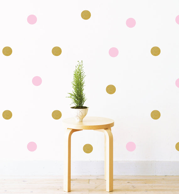 Party Gold & Pink Polka Dots Pattern Wall Sticker