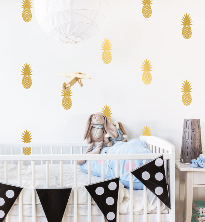 Cute Pineapples Pattern Wall Sticker