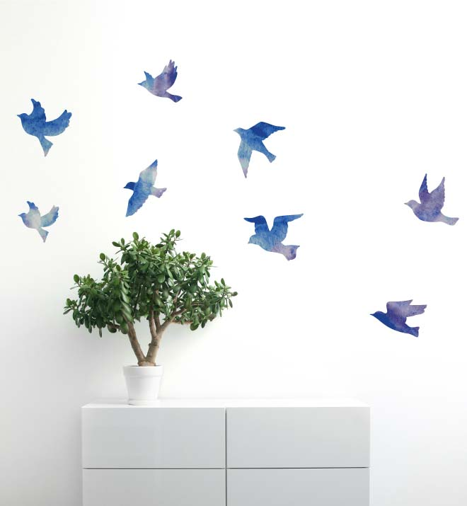 Watercolour Flock of Birds Wall Sticker