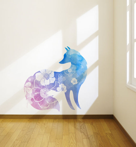 Watercolour Flowery Fox Wall Sticker