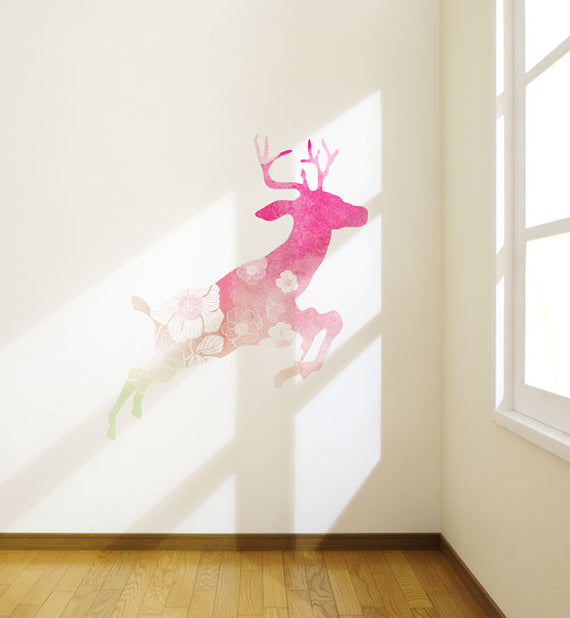Watercolour Flowery Deer Wall Sticker
