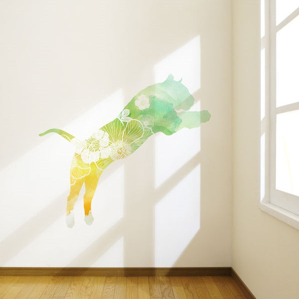 Watercolour Flowery Tiger Wall Sticker