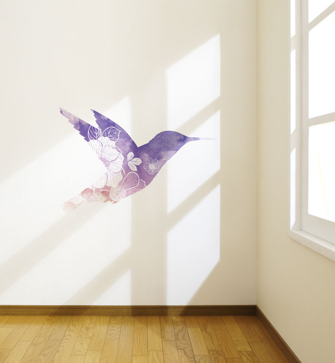 Watercolour Flowery Bird Wall Sticker
